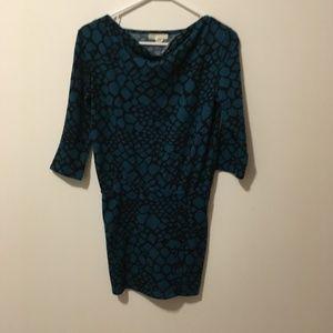 Derek Heart Blue Animal Print Sweater Dress